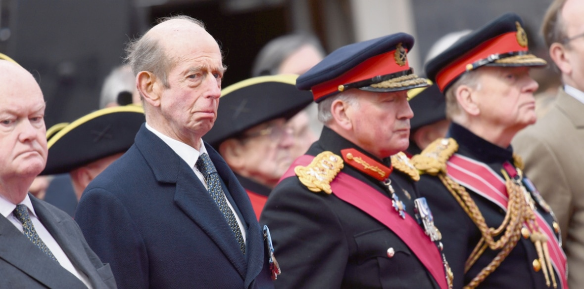 The Duke of Kent attending the Freemasons VC Memorial unveiling event outside the Freemasons' Hall building in Covent Garden, London