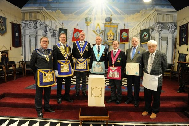 Freemasons inside the De La Pole Masonic Lodge 1605 in Beverley Road (Image: Peter Harbour)