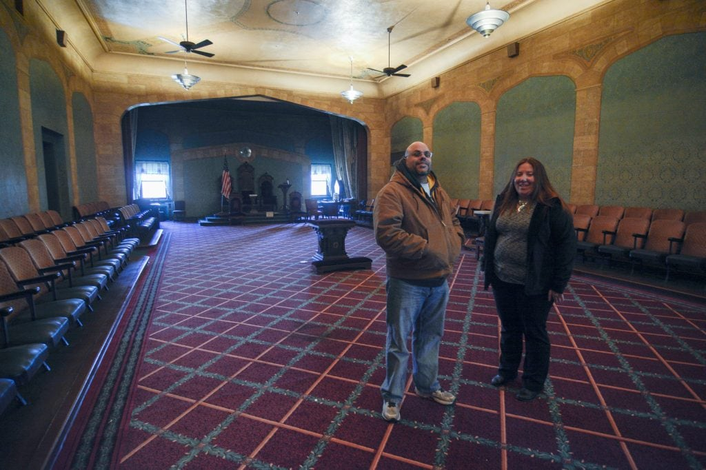 Nick DeBergalis, president of the Masonic Temple Association and Stephanie Timblin, executive director of Rural Revitalization Corp in the Masonic Temple building at 124 N. Union. St.
