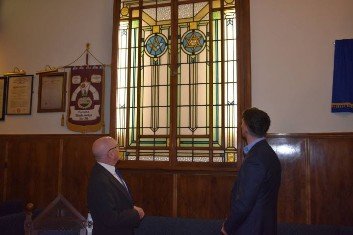 Ornate stained-glass windows adorn the Masonic Temple