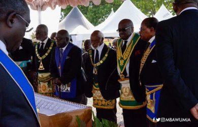 Photos: Freemasons 'storm' funeral to bid member K.B Asante farewell