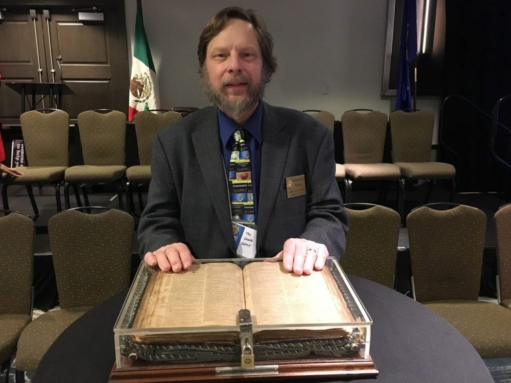 Not many people get to be this close to such an historic item from both our nation's and our fraternity's past. So, yes, I was perfectly thrilled to step up and get my picture taken with the Fredericksburg Bible this week.