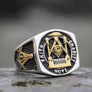 Faith Hope Charity Masonic Freemason Gold Color Stainless Steel Ring