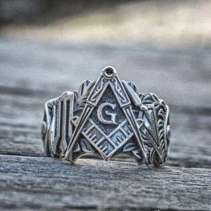 Masonic Symbol Freemason Stainless Steel Silver Ring