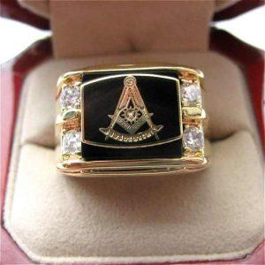 Past Master Zirconia Deluxe Masonic Copper Ring