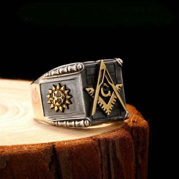 Sun Moon Vintage Masonic 925 Sterling Silver Ring