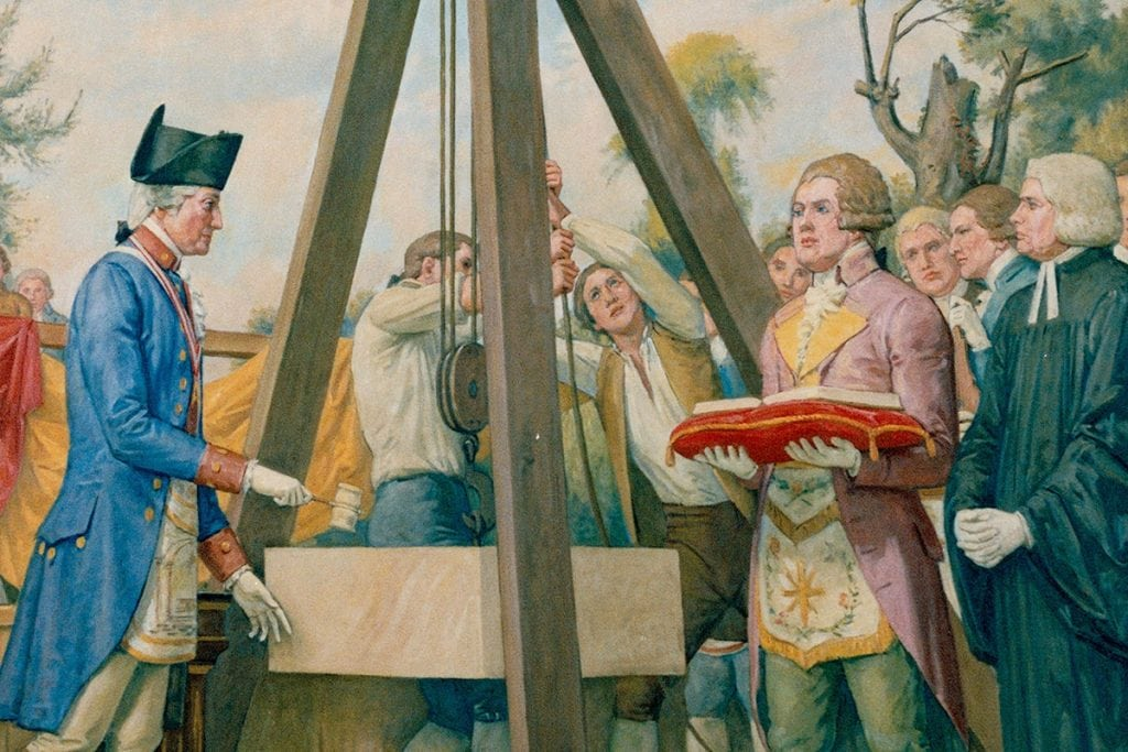 George Washington presided at the Masonic ceremonial laying of the United States Capitol cornerstone.